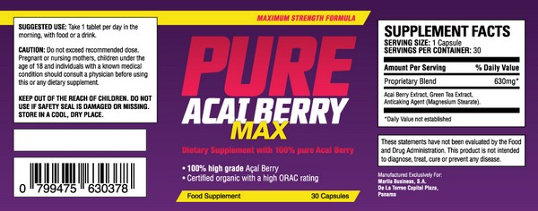 pure acai berry max ingredients